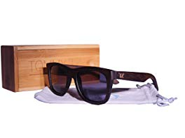Bamboo Wood Floating Sunglasses with Anti-Reflective Polarized Lens - Natural Frame and Case - Wayfarer